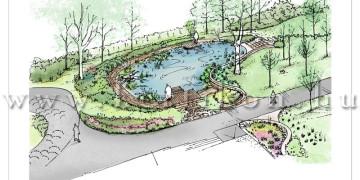 Kerti látványrajz, vidéki birtok kerti tó