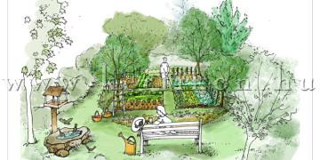 Kerti látványrajz, családi ház kertje, veteményes és gyümölcsöskert kialakítása