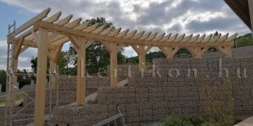 Pergola ives gabion támfal - kertépités domboldalon
