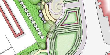 Tér rendezés, kertépítészeti terv; átfogó térrendezési javaslat