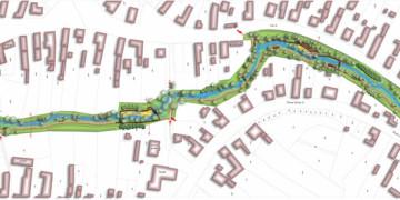 A környezetrendezés áttekintő terve, patak parki tansétány kertépítészeti tanulmányterv