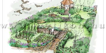 Kerti látványrajz - családi ház kert lejtős terepen