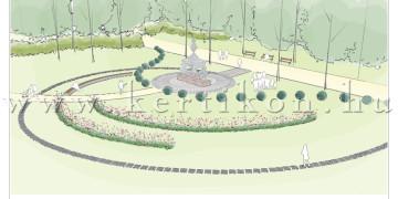 Gesztenyés kert, 1956-os szobor és emlékhely Szobrászművészeti és környezetalakítási pályázat - oldalsó parki nézet látványrajza
